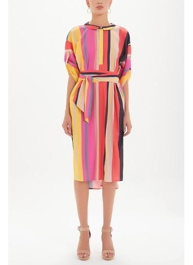 Societa Düğmeli Bol Kesim Midi Elbise 92386 Renkli
